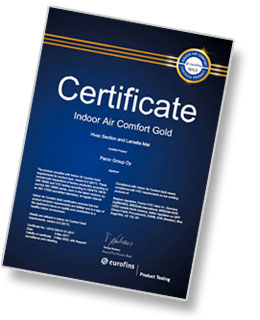 Certificate Eurofins Indoor Air Comfort GOLD