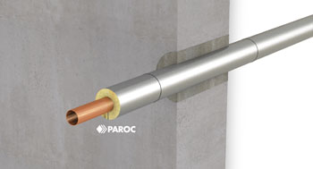 Rohrabschottung isoliert mit PAROC Hvac Section AluCoat T
